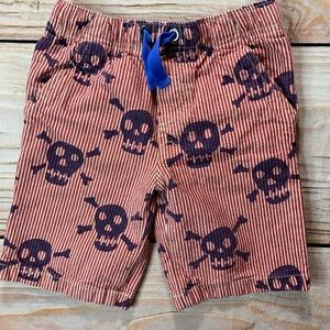 Mini Boden red stripe with skull shorts size 7y